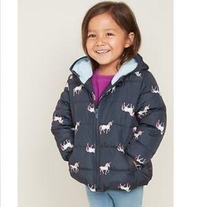 Old Navy Unicorn puffer coat toddler girls 2T navy